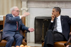 President Barack Obama meets with Warren Buffett